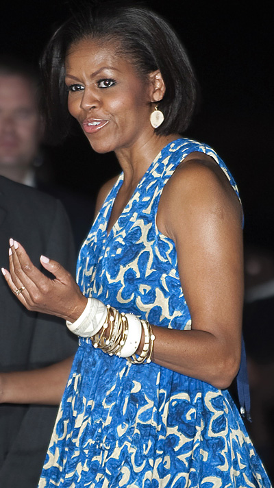Michelle Obama wearing Monique Pean earrings and bracelets
