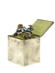 Silver box corsage