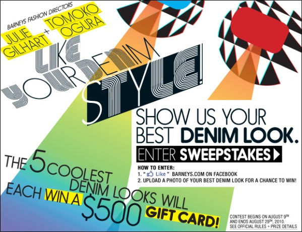 Barneys Like Your Denim Sweepstakes