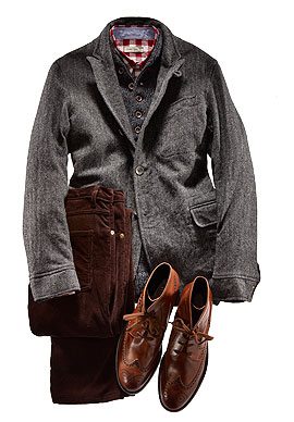 Oliver Spencer Wool jacket ($595), wool sweater ($245), cotton shirt ($225), and cotton corduroy trousers ($225) by Oliver Spencer; leather boots ($595) by Tod's.
